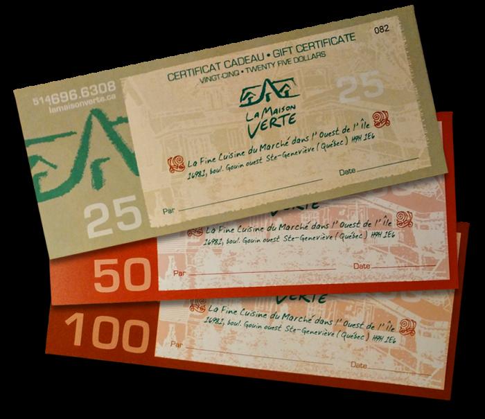 La Maison Verte | Gift certificate $25, $50, $100